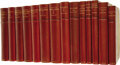 Books:Non-fiction, John Morley: 14 Volume Set of His Collected Works, all rebound ingorgeous red half-leather with marbled boards and endpaper...(Total: 14 Item)
