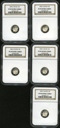 Proof Roosevelt Dimes, (5)2005-S 10C Silver PR 69 Deep Cameo NGC. ... (Total: 5 coins)