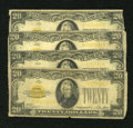 Small Size:Gold Certificates, Fr. 2402 $20 1928 Gold Certificates. Four Examples. Good or Better.. ... (Total: 4 notes)