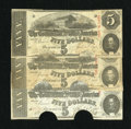 Confederate Notes:1863 Issues, T60 $5 1863 Three Examples.. ... (Total: 3 notes)