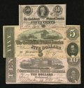 Confederate Notes:1862 Issues, T52 $10 1862 Fine; CC. T69 $5 1864 XF. T72 50¢ 1864 CU.. ...(Total: 3 notes)