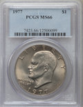Eisenhower Dollars: , 1977 $1 MS66 PCGS. PCGS Population (835/14). NGC Census: (303/8). Mintage: 12,596,000. Numismedia Wsl. Price for problem fr...