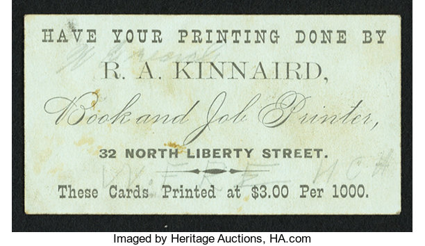 Baltimore md ra kinnaird currency related business card miscellaneousother baltimore md ra kinnaird currency related business card reheart Images