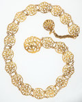 "Luxury Accessories:Accessories, Chanel Gold CC Arabesque Medallion Belt. ExcellentCondition. 2"" Width x 36"" Adjustable Length. ..."