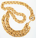 """Luxury Accessories:Accessories, Chanel Gold Chain Link & CC Medallion Belt. Very GoodCondition. .5"""" Width x 34"""" Adjustable Length. ..."""
