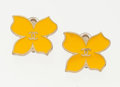 "Luxury Accessories:Accessories, Chanel Yellow Enamel & Gold Butterfly Earrings. Very Good toExcellent Condition. 1"" Width x 1"" Height. ..."