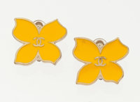 "Chanel Yellow Enamel & Gold Butterfly Earrings Very Good to Excellent Condition 1"" Width x 1"" Hei"