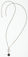"Luxury Accessories:Accessories, Chanel Silver & Clear Crystal CC Necklace. Very GoodCondition . 16""-22"" Length. ..."