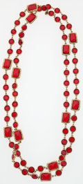 "Luxury Accessories:Accessories, Chanel Red Crystal & Gold Sautoir Necklace. ExcellentCondition. .5"" Width x 60"" Length . ..."