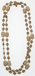 "Luxury Accessories:Accessories, Chanel Gray Crystal & Gold Sautoir Necklace. ExcellentCondition . .5"" Width x 60"" Length. ..."
