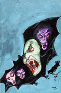 """Original Comic Art:Covers, Gene Colan Tomb of Dracula V3 #2 """"Day of Blood! Night ofRedemption!"""" Cover Painting Original Art (Marvel/Epic, 19..."""