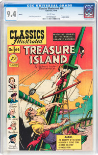 Classics Illustrated #64 Treasure Island Original Edition - Vancouver pedigree (Gilberton, 1949) CGC NM 9.4 White pages...