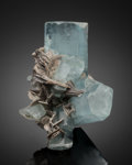Minerals:Cabinet Specimens, BERYL var. AQUAMARINE with MUSCOVITE. Nagar, Hunza Valley,Gilgit District, Gilgit-Baltistan, Pakistan. ...