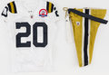 Football Collectibles:Uniforms, 2009 Thomas Jones Game Worn, Unwashed New York Jets Throwback Jersey and Pants - Worn 10/25 Vs. Oakland....