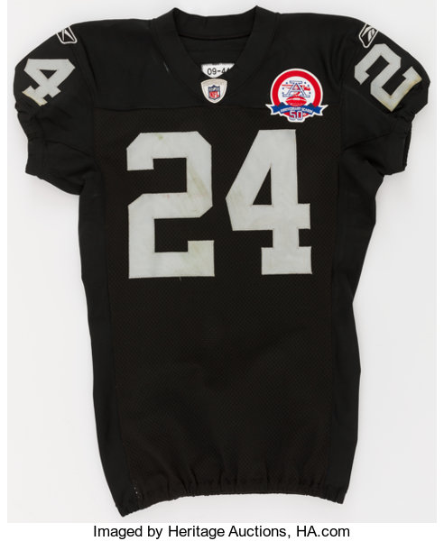 new arrivals 2bb6b 507c1 2009 Michael Huff Game Worn, Unwashed Oakland Raiders Jersey ...