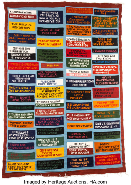 MUNGO THOMSON (American, b. 1969) Religion Tapestry, 2006 Hand-woven Ecuadorean wool 104 x 72-1/2 inches (264.2 x 184...