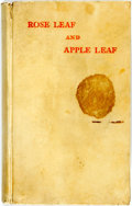 Books:Literature Pre-1900, Rennell Rodd. Rose Leaf and Apple Leaf. Philadelphia: J. M.Stoddart & Co., 1882. With an Introduction by Oscar ...