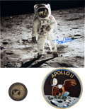 "Autographs:Celebrities, Buzz Aldrin Signed Large Color Lunar Surface ""Visor"" Photo withCOA, Apollo 11 Patch, and Medallion Containing Flown Metal....(Total: 3 Items)"