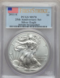 Modern Bullion Coins, 2011-S $1 Silver Eagle, 25th Anniversary, First Strike MS70 PCGS. PCGS Population (8205). NGC Census: (18277). ...
