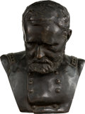 Military & Patriotic:Civil War, Memorial Bronze Bust of General Ulysses S. Grant by American Sculptor Karl Gerhardt (1853-1940)....