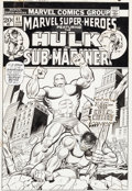 Original Comic Art:Covers, Herb Trimpe and John Romita Sr. Marvel Super-Heroes #41 HulkCover Original Art (Marvel, 1974)....