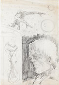 Original Comic Art:Miscellaneous, Barry Smith Silver Surfer and Hulk Sketch Original Art(Marvel, undated)....