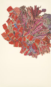 GINNY BISHTON (American, b. 1967) Walking, Red, 2004 Photo collage on wove paper 38 x 22-1/4 inch