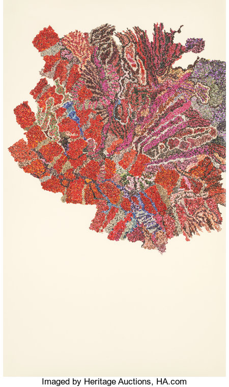 GINNY BISHTON (American, b. 1967) Walking, Red, 2004 Photo collage on wove paper 38 x 22-1/4 inches (96.5 x 56.5 cm)...