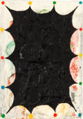 Miscellaneous, CHRIS MARTIN (American, b. 1954). Untitled, 2004-05. Oil andcollage with mixed media on tablecloth. 43 x 30 inches (109...