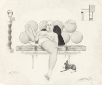 ASHLEY BICKERTON (American, b. 1959) The Patron, 1997 Pencil on paper 14 x 16-3/4 inches (35.6 x