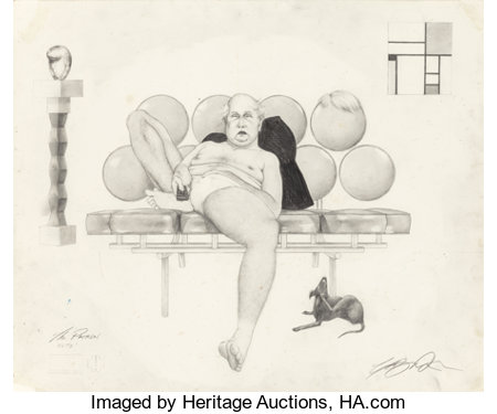 ASHLEY BICKERTON (American, b. 1959) The Patron, 1997 Pencil on paper 14 x 16-3/4 inches (35.6 x 42.5 cm) Signed and...