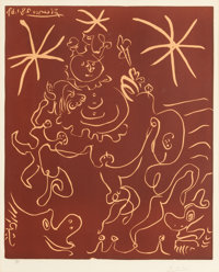 PABLO PICASSO (Spanish, 1881-1973) Carnival, 1967 Linocut in colors 25-1/8 x 20-3/4 inches (63.8