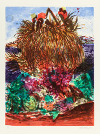 MALCOLM MORLEY (British, b. 1931) Erotic Fruitos, 1993 Intaglio in colors 41-1/8 x 30-1/4 inches