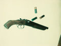 Post-War & Contemporary:Pop, ANDY WARHOL (American, 1928-1987). Untitled (Gun and ThreeBullets), 1977. Unique Polacolor Type 108 print. 4-1/4 x3-3/...