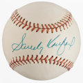 Baseball Collectibles:Balls, Sandy Koufax Single Signed Baseball....