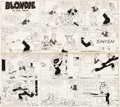 Original Comic Art:Comic Strip Art, Chic Young Blondie Sunday Comic Strip Original Art dated7-13-47 (King Features Syndicate, 1947). ...