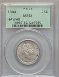 Coins of Hawaii: , 1883 25C Hawaii Quarter MS62 PCGS. PCGS Population (205/920). NGCCensus: (151/713). Mintage: 500,000. ...