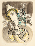 Prints, MARC CHAGALL (French/Russian, 1887-1985). Cirque au Clown jaune, 1967. Lithograph in colors. 26-3/8 x 20-1/2 inches (67....