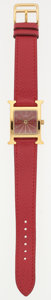 """Luxury Accessories:Bags, Hermes Gold Plated Stainless Steel H Hour MM Watch with Rouge VifCourchevel Leather Strap. Excellent Condition. .5""""W..."""