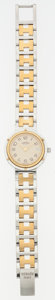 """Luxury Accessories:Accessories, Hermes Gold Plated Stainless Steel Clipper PM Watch . Very GoodCondition. .5"""" Width x 6.5"""" Length. ..."""