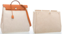 Hermes Vache Naturelle Leather & Toile Herbag GM Bag with Palladium Hardware Very Good Condition
