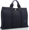"Luxury Accessories:Bags, Hermes Navy Blue Canvas Fourre Tout MM Bag with Palladium Hardware.Very Good Condition. 17"" Width x 13"" Height x 4"" D..."