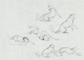 Original Comic Art:Sketches, Frank Frazetta Wolf Sketches Original Art (undated)....