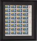 "Autographs:Celebrities, Neil Armstrong Signed Sheet of ""First Man on the Moon"" Stamps in aFramed Display...."