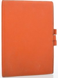 "Hermes Orange H Chevre Leather Vision GM Agenda Cover Good Condition 5.5"" Width x 7.5"" Height"