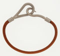 """Luxury Accessories:Accessories, Hermes Natural Bridle Leather Jumbo Bracelet with Brushed PalladiumHardware. Very Good to Excellent Condition. 7.5"""" L..."""