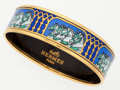 "Luxury Accessories:Accessories, Hermes 60mm Blue & Green Enamel Bangle Bracelet with GoldHardware. Very Good to Excellent Condition. .5"" Width x2.5""..."