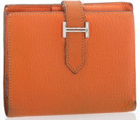"Hermes Orange H Chevre Leather Mini Bearn Wallet with Palladium Hardware Good Condition 4.5"" Widt"
