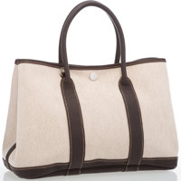 Hermes Ebene Buffalo Leather & Toile Garden Party TPM Bag with Palladium Hardware Excellent Condition