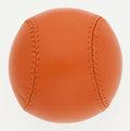 "Luxury Accessories:Accessories, Hermes Limited Edition Orange H Agneau Leather ""Hinokicho Park2007"" Baseball. Very Good Condition. 2.5"" Width x 2.5""..."